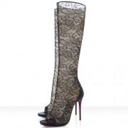 Replica Christian Louboutin Alta Dentelle 120mm Boots Black Cheap Fake Shoes