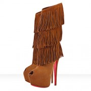 Replica Christian Louboutin Highness Tina 160mm Boots Brown Cheap Fake Shoes