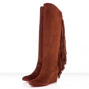 Replica Christian Louboutin Pouliche 80mm Boots Brown Cheap Fake Shoes