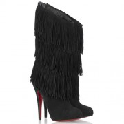Replica Christian Louboutin Forever Tina 140mm Boots Black Cheap Fake Shoes
