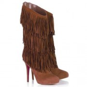 Replica Christian Louboutin Forever Tina 140mm Boots Brown Cheap Fake Shoes