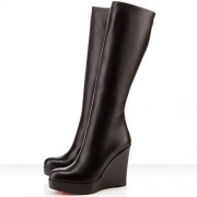 Replica Christian Louboutin Garibaldi 100mm Boots Black Cheap Fake Shoes