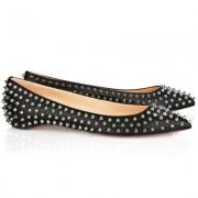Replica Christian Louboutin Pigalle Spiked Ballerinas Black Cheap Fake Shoes