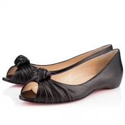 Replica Christian Louboutin Turban Nappa Ballerinas Black Cheap Fake Shoes