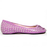 Replica Christian Louboutin Big Kiss Studded Ballerinas Rose Cheap Fake Shoes