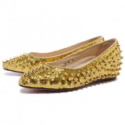 Replica Christian Louboutin Pigalle Spiked Ballerinas Gold Cheap Fake Shoes