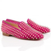 Replica Christian Louboutin Rolling Spikes Loafers Rose Matador Cheap Fake Shoes