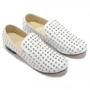 Replica Christian Louboutin Rolling Spikes Loafers White Cheap Fake Shoes