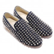 Replica Christian Louboutin Rolling Spikes Loafers Blue Cheap Fake Shoes