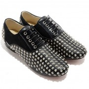 Replica Christian Louboutin Fred Spikes Loafers Black Cheap Fake Shoes