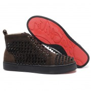 Replica Christian Louboutin Louis Spikes Sneakers Chocolate Cheap Fake Shoes