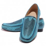 Replica Christian Louboutin Croc Maroc Loafers Blue Cheap Fake Shoes