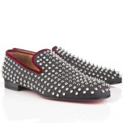 Replica Christian Louboutin Rollerboy Spikes Loafers Navy Cheap Fake Shoes