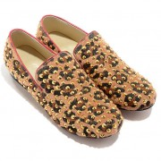 Replica Christian Louboutin Rollerboy Spikes Loafers Leopard Cheap Fake Shoes