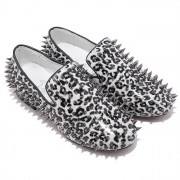Replica Christian Louboutin Rollerboy Spikes Loafers White Cheap Fake Shoes