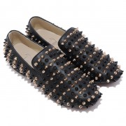 Replica Christian Louboutin Rollerboy Spikes Loafers Black Cheap Fake Shoes