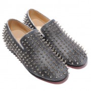 Replica Christian Louboutin Rollerboy Silver Spikes Loafers Grey Cheap Fake Shoes