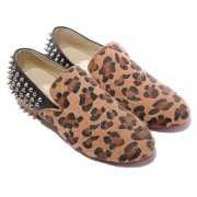 Replica Christian Louboutin Rollerboy Silver Spikes Loafers Leopard Cheap Fake Shoes