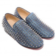 Replica Christian Louboutin Rollerboy Silver Spikes Loafers Blue Cheap Fake Shoes