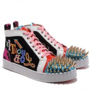 Replica Christian Louboutin Louis Gold Spikes Sneakers Multicolor Cheap Fake Shoes