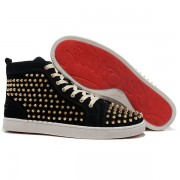 Replica Christian Louboutin Louis Gold Spikes Sneakers Black Cheap Fake Shoes