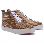 Replica Christian Louboutin Louis Gold Spikes Sneakers Bronze Cheap Fake Shoes