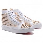 Replica Christian Louboutin Louis Gold Spikes Sneakers White Cheap Fake Shoes