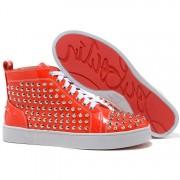 Replica Christian Louboutin Louis Spikes Sneakers Orange Cheap Fake Shoes
