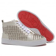 Replica Christian Louboutin Louis Spikes Sneakers Beige Cheap Fake Shoes