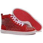 Replica Christian Louboutin Louis Spikes Sneakers Red Cheap Fake Shoes