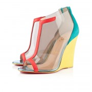 Replica Christian Louboutin Scuba 100mm Wedges Caraibes/Canari Cheap Fake Shoes