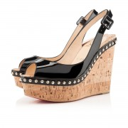 Replica Christian Louboutin Monico 140mm Wedges Black Cheap Fake Shoes