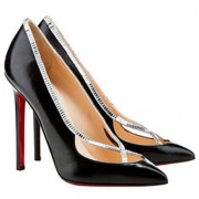 Replica Christian Louboutin Super Vic 120mm Pumps Black Cheap Fake Shoes