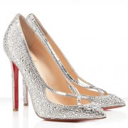Replica Christian Louboutin Super Vic 120mm Pumps Silver Cheap Fake Shoes