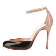 Replica Christian Louboutin Tres Decollete 100mm Pumps Black/Nude Cheap Fake Shoes