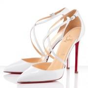 Replica Christian Louboutin Crosspiga 120mm Pumps White Cheap Fake Shoes