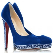 Replica Christian Louboutin Eugenie 120mm Pumps Blue Cheap Fake Shoes