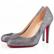 Replica Christian Louboutin Simple 100mm Pumps Silver Cheap Fake Shoes