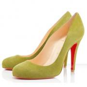 Replica Christian Louboutin Ron Ron 100mm Pumps Yellow Cheap Fake Shoes