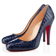 Replica Christian Louboutin Ron Ron 100mm Pumps Navy Cheap Fake Shoes
