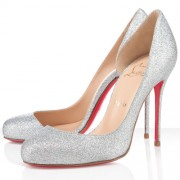 Replica Christian Louboutin Helmour 100mm Pumps Silver Cheap Fake Shoes