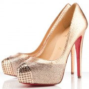 Replica Christian Louboutin Maggie 140mm Pumps Gold Cheap Fake Shoes