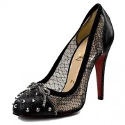 Replica Christian Louboutin Candy Lace 120mm Pumps Black Cheap Fake Shoes