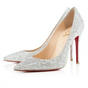 Replica Christian Louboutin Decollete 554 Strass 100mm Pumps Silver Cheap Fake Shoes