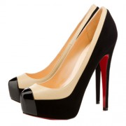 Replica Christian Louboutin Mago Two Tone 160mm Pumps Black Cheap Fake Shoes