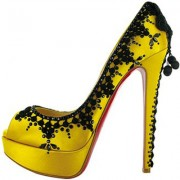 Replica Christian Louboutin Torero 140mm Peep Toe Pumps Lemon Cheap Fake Shoes
