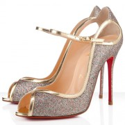 Replica Christian Louboutin 1en8 100mm Peep Toe Pumps Gold Cheap Fake Shoes