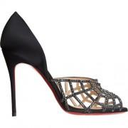 Replica Christian Louboutin Aranea 100mm Peep Toe Pumps Black Cheap Fake Shoes