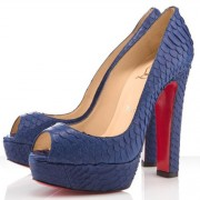Replica Christian Louboutin Bambou 140mm Peep Toe Pumps Navy Cheap Fake Shoes