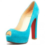 Replica Christian Louboutin Bambou 140mm Peep Toe Pumps Blue Cheap Fake Shoes